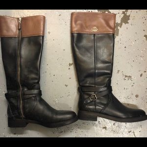 Two toned leather coach boots